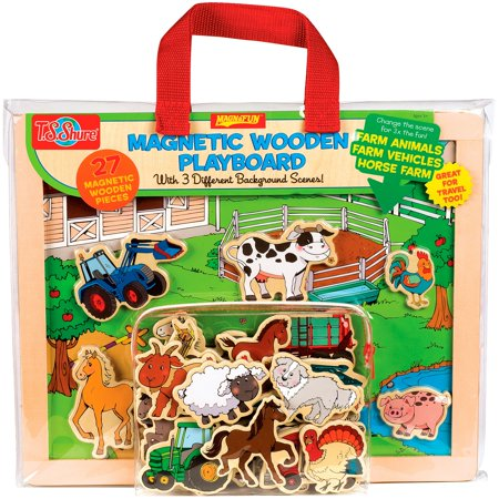 T.S. Shure Farm Animals, Horses and Vehicles Wooden Magnetic Playboard -
