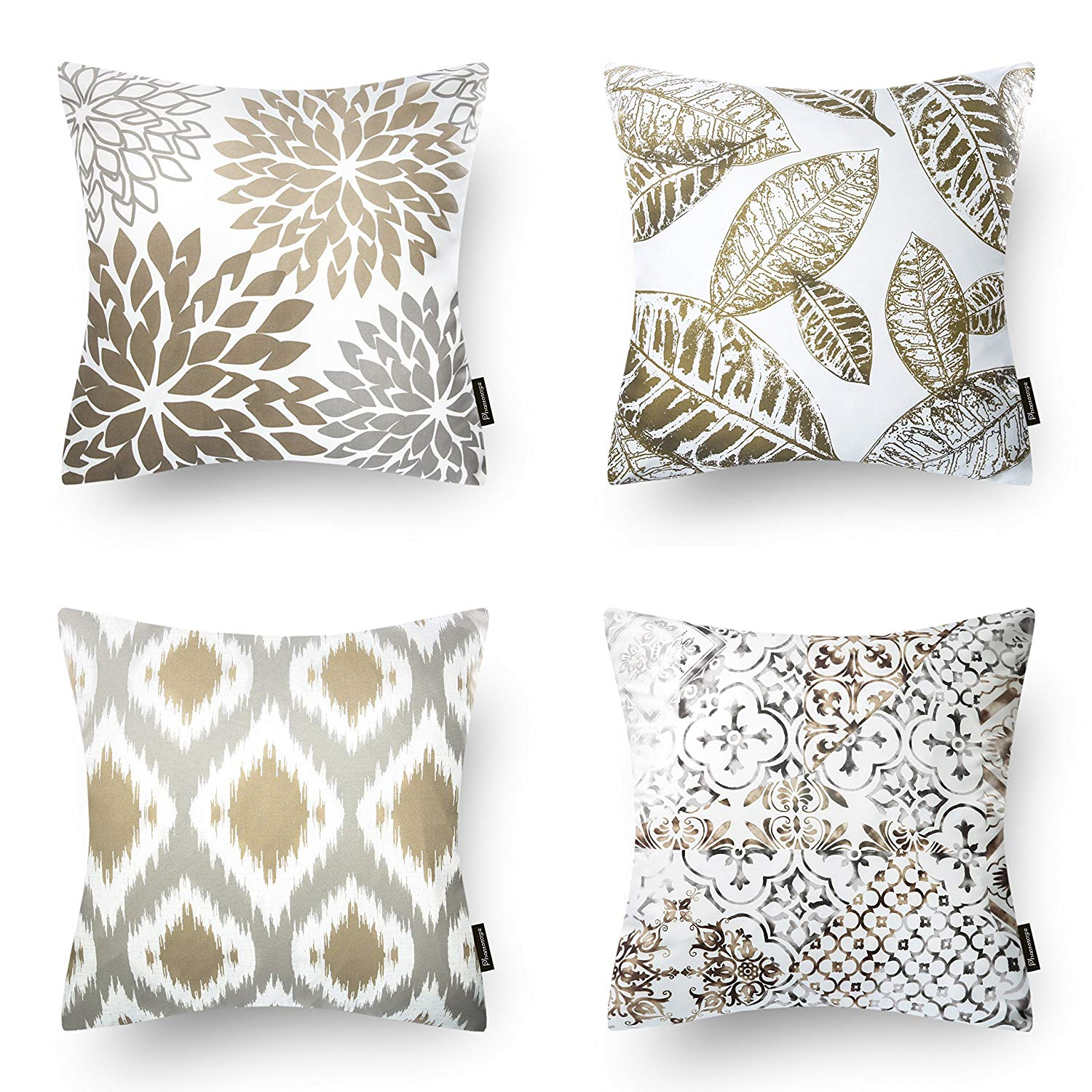 Set of 4 Phantoscope Throw pillow covers New Home Living Coffee Color Decorative Throw Pillow Case Cushion Covers Set of 4 (Pillow Covers Only)