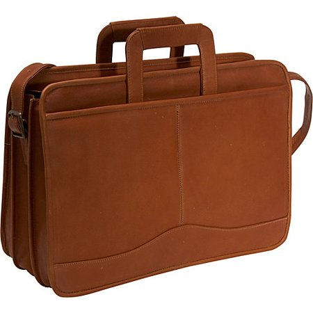 Triple Gusset Drop Handle Leather Briefcase w Top Zip Section (Tan)