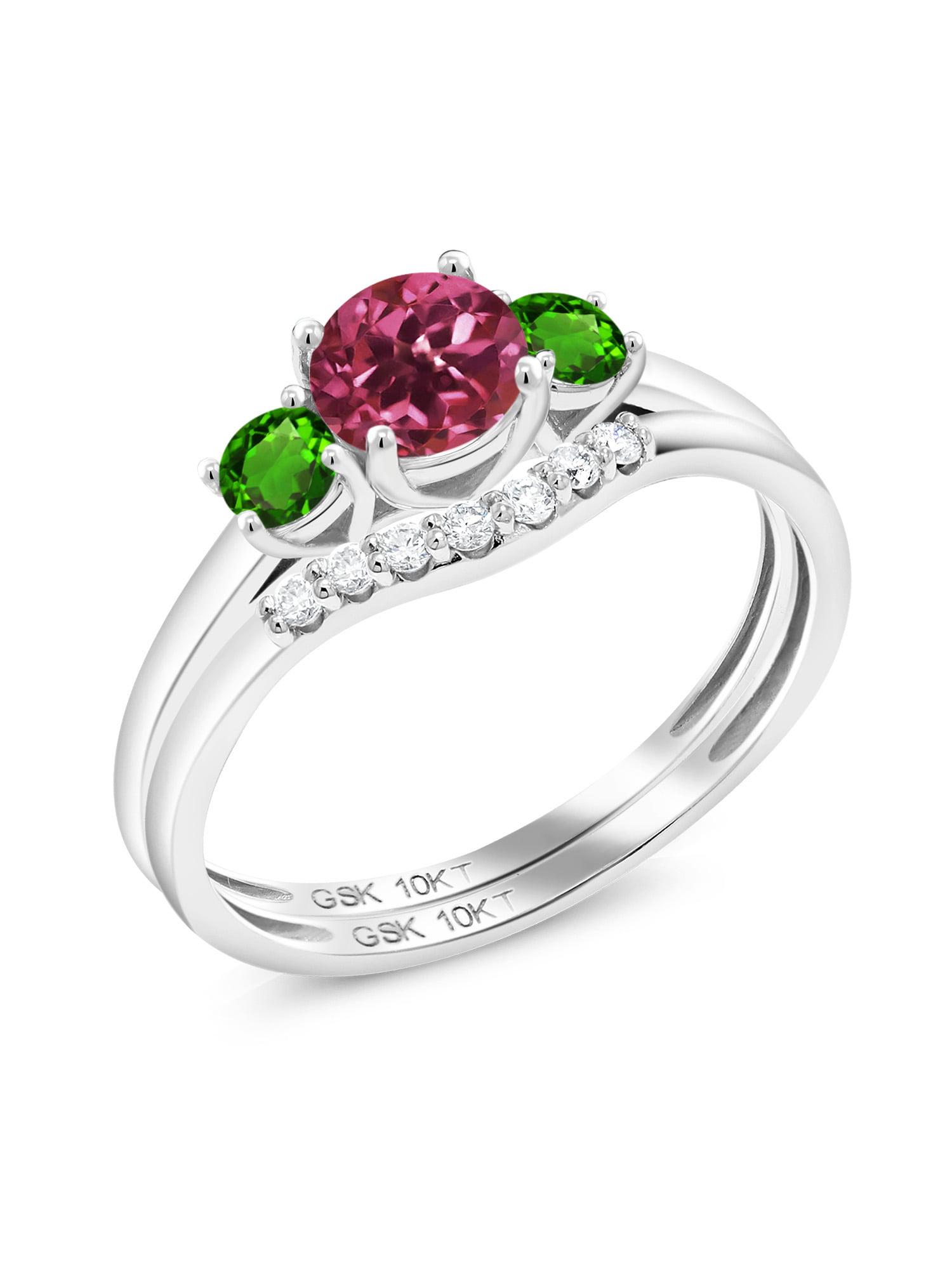 0.85 Ct Round Pink Tourmaline Green Simulated Tsavorite 10K White Gold Lab Grown Diamond Ring by