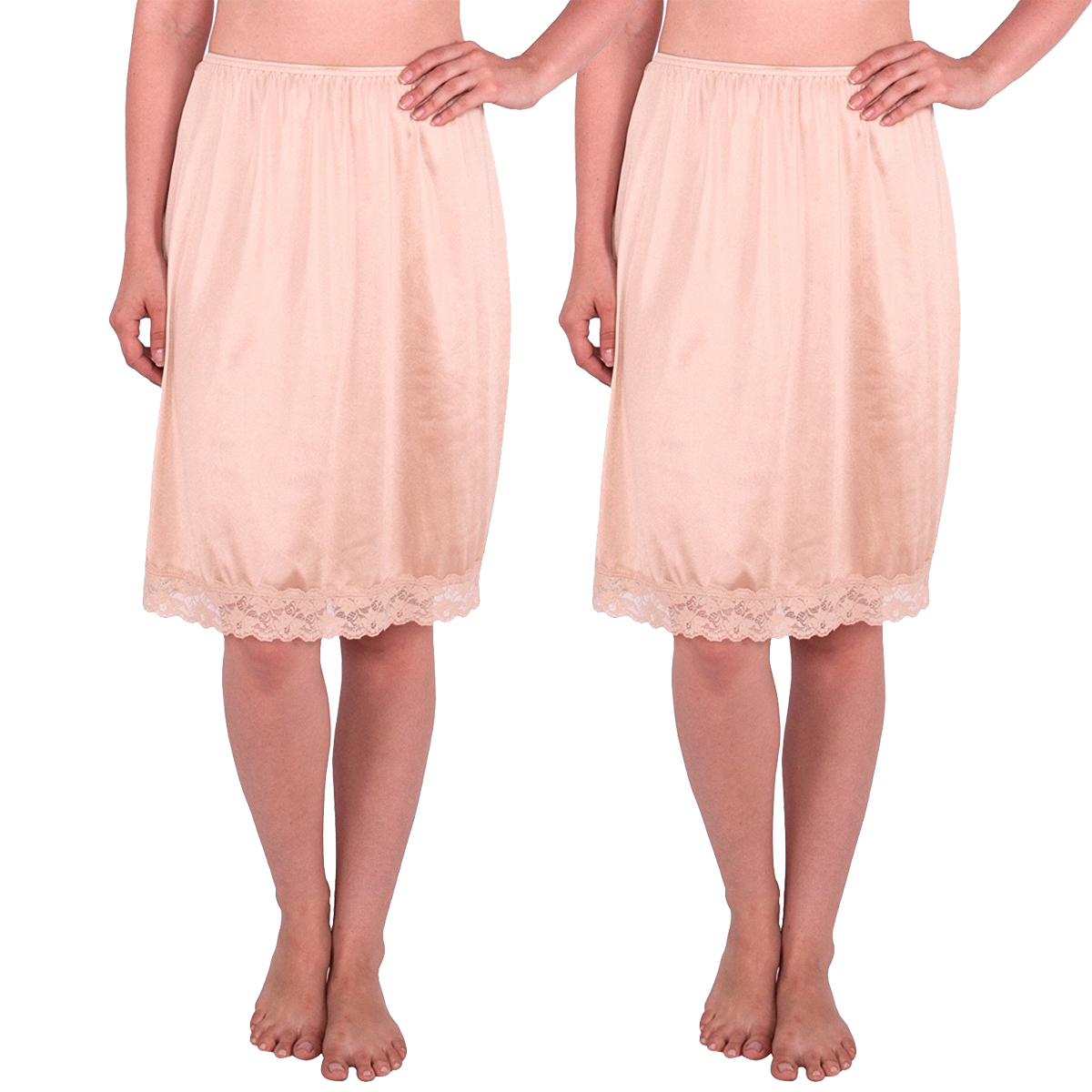 Women's Half Slip with Lace Details, Anti- Static (Pack of 2)