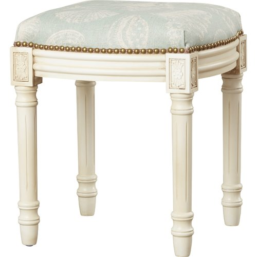 123 Creations Coastal Seashells Linen Upholstered Vanity Stool