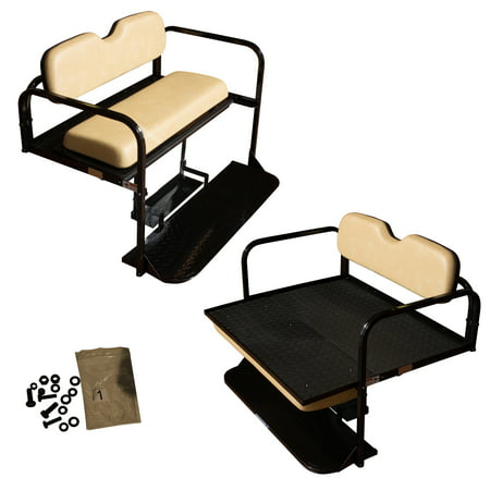 EZGO TXT Golf Cart Flip Folding Rear Back Seat Kit - Tan Cushions