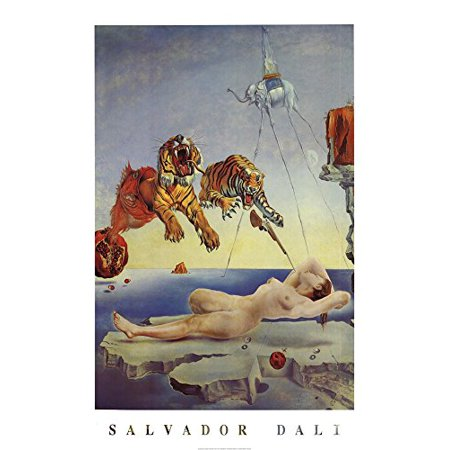 Dream Caused by the Flight of a Bee a Second Before Awakening by Salvador Dali 36x24 Art Print Poster Museum Master Famous Painting Tigers Nude Woman Elephant Gun