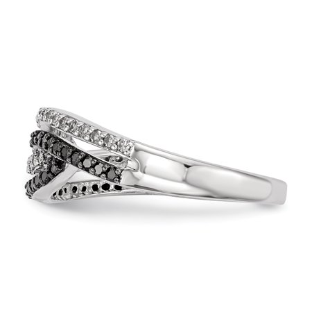 Sterling Silver Rhodium Plated Back & White Diamond Ring Size 6 - image 2 of 3
