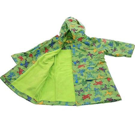 Boys Cute Green Frog Print Lined Raincoat