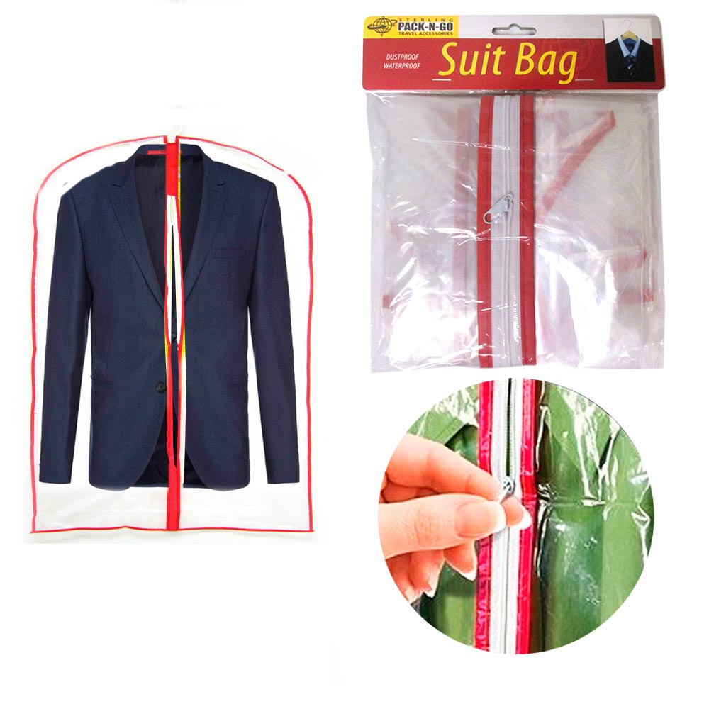 3pc Clear Foldable Garment Bag For Suit Dress Jacket Cover Zipper Storage Travel
