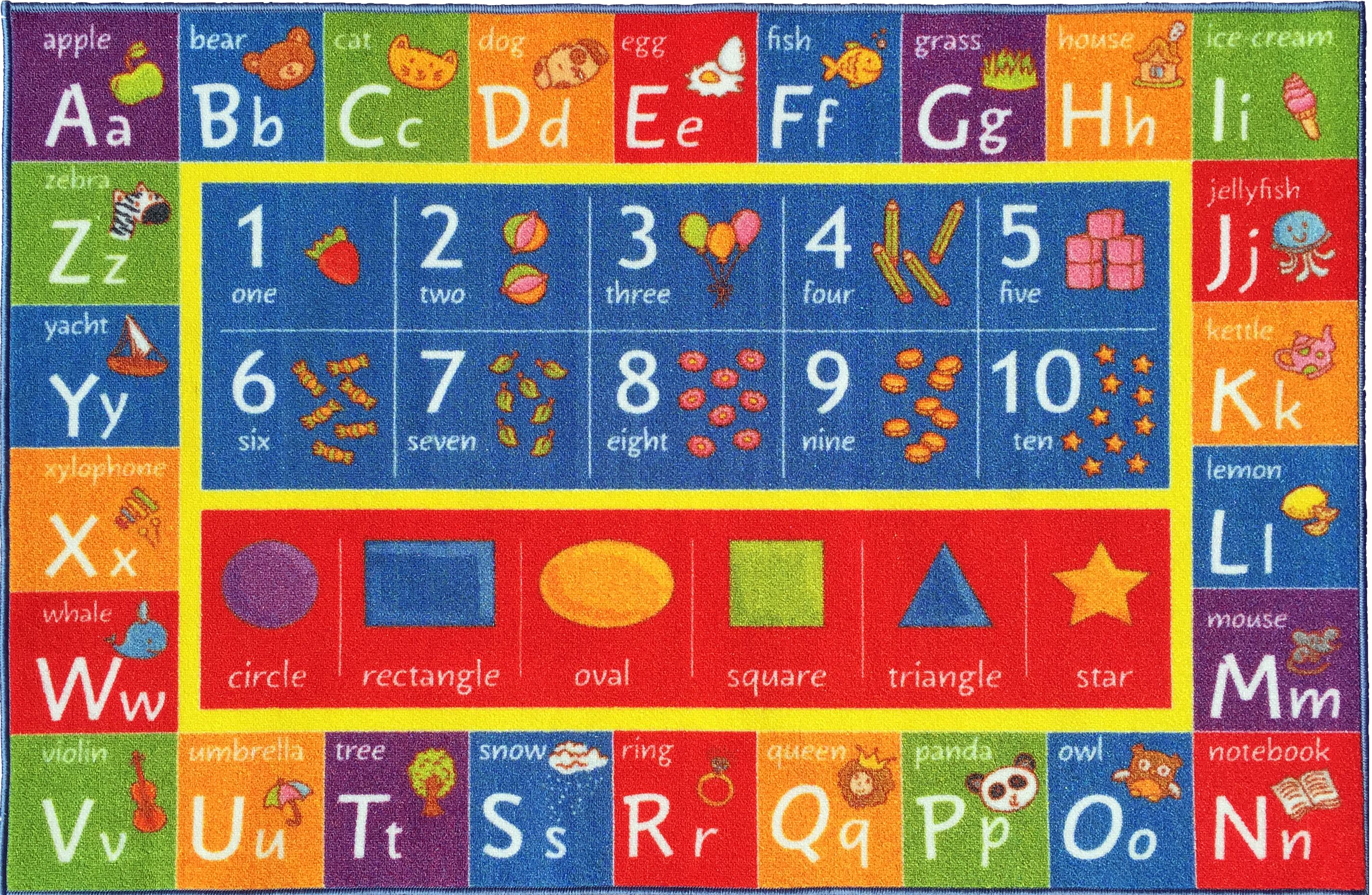 Great KC Cubs Playtime Collection ABC, Numbers, And Shapes Multicolor  Polypropylene Educational Area Rug (