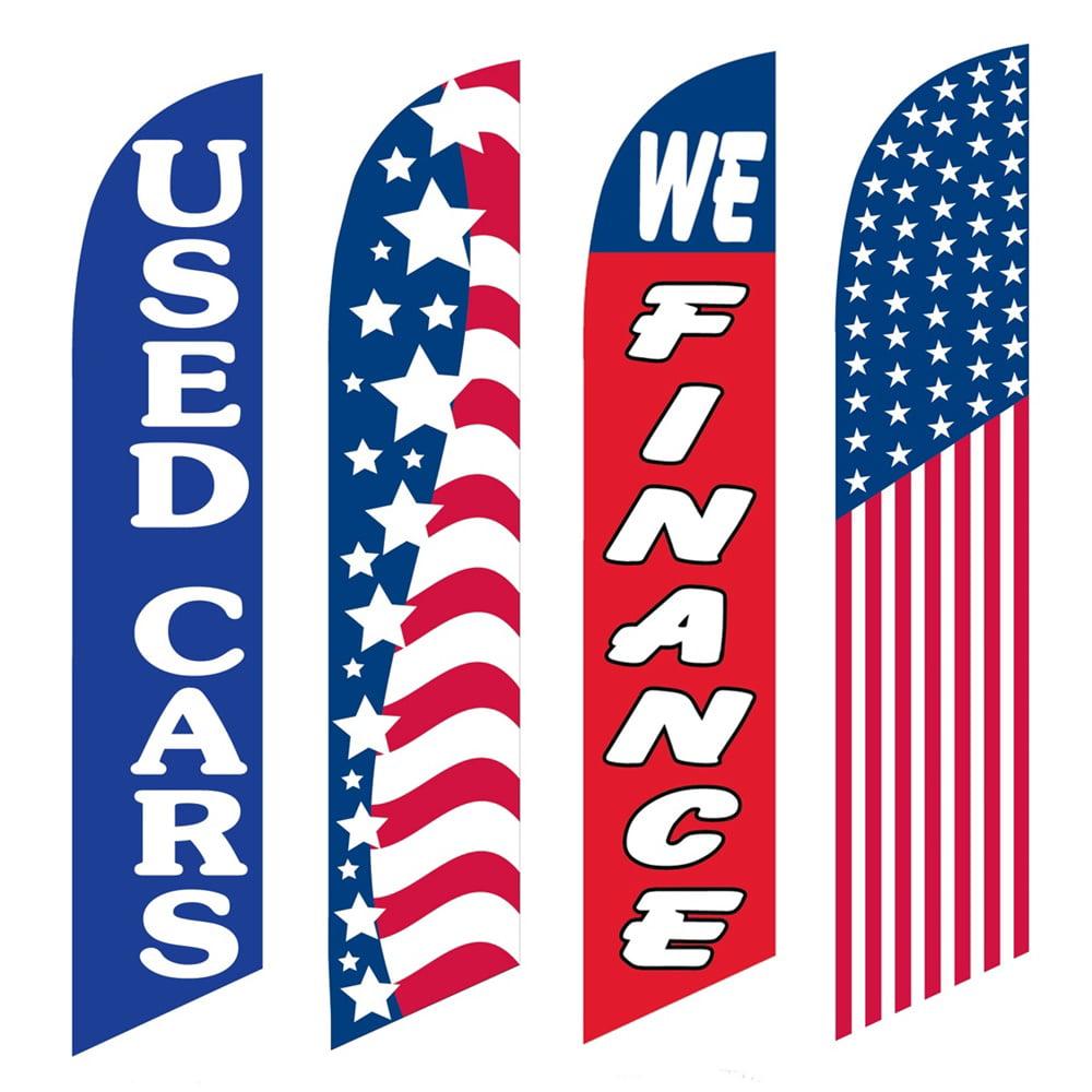 4 Advertising Swooper Flags Used Cars Patriotic We Finance America