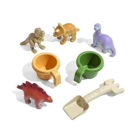 Step2 Dino Dig Sand & Water Table With Cover And 7 Piece Dinosaur Toy Accessory Set