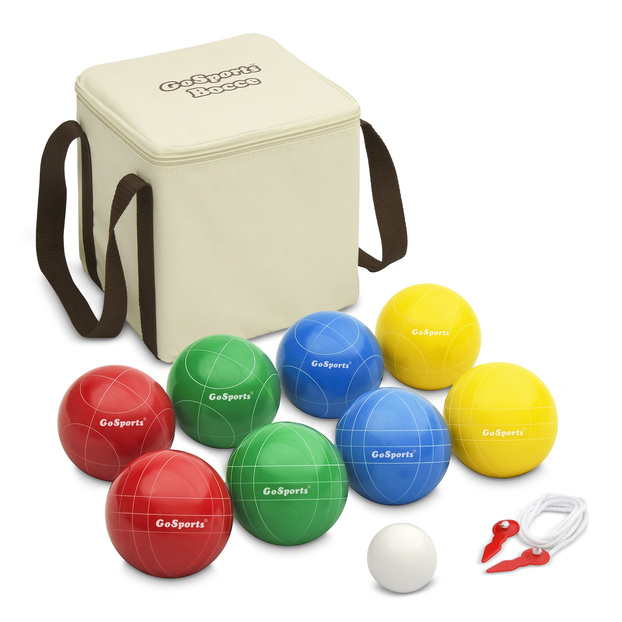 GoSports 90mm Backyard Bocce Set with 8 Balls, Pallino, Portable Carry Case and Measuring Rope by P&P Imports LLC