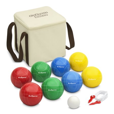 Gosports 90Mm Backyard Bocce Set With 8 Balls  Pallino  Portable Carry Case And Measuring Rope