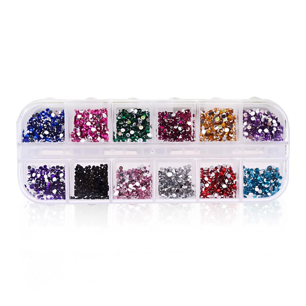 VBESTLIFE Glitter Rhinestones,12Grids/Case Colorful Flat-back Nail Art Rhinestones Glitter Manicure DIY Decoration Accessory Manicure Decoration