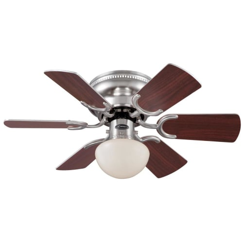 Westinghouse 7213300 Petite Single Light 6 Blade Hugger Ceiling Fan with Reversible Motor, Reversible Blades and Light Kit Included