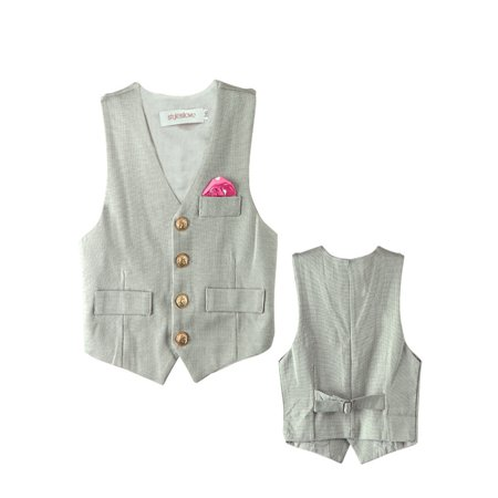 Stylesilove Baby Boy Faux Tie Gold Buttons Tuxedo Vest (2-3 Years, Grey)