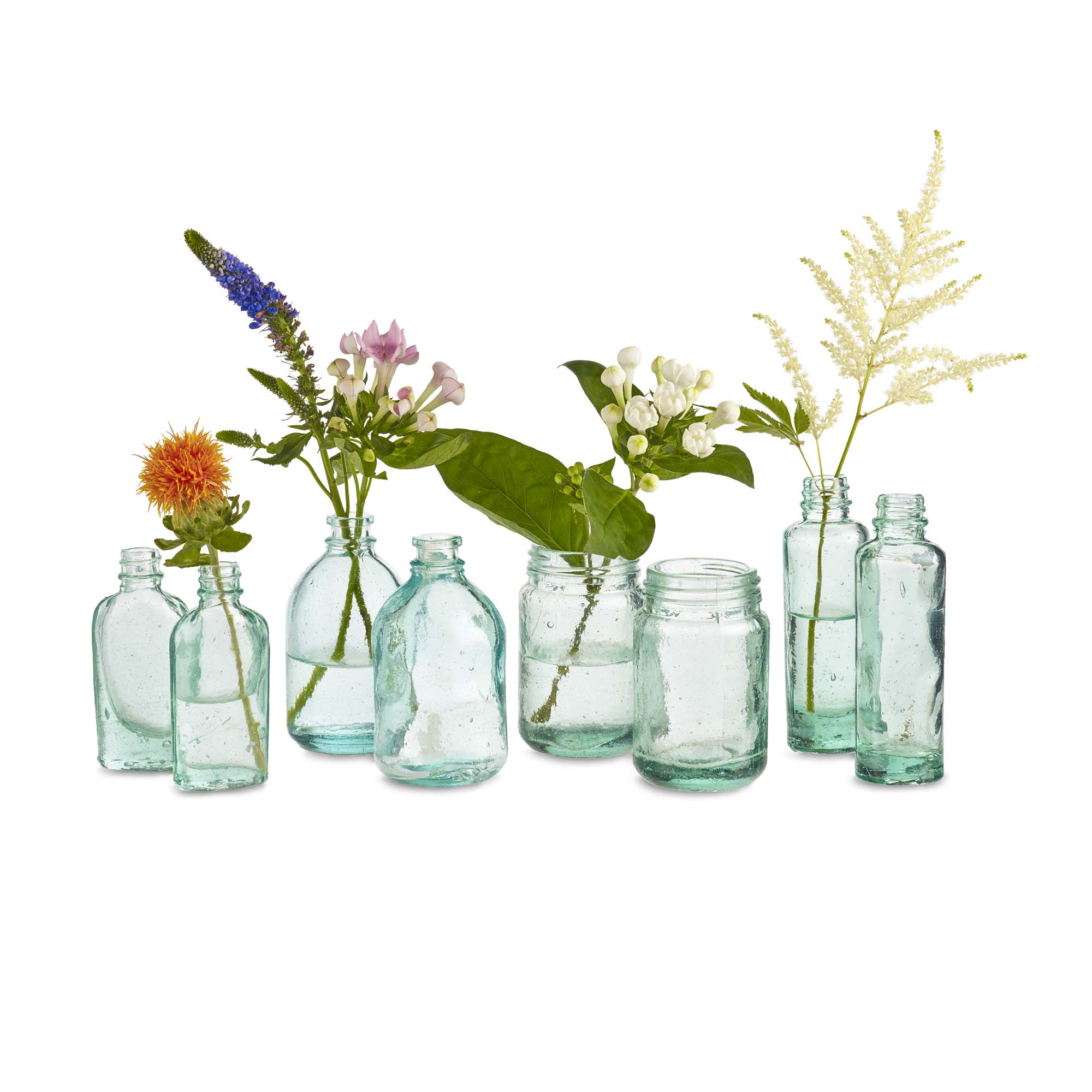 Design Ideas Mason Recycled Blown Glass Vase Assortment, Set of 8