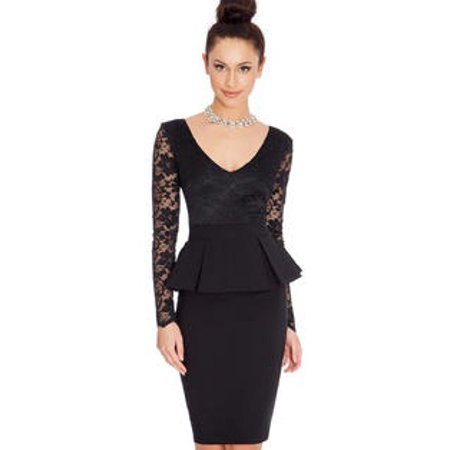 Unomatch Women Peplum Long Sleeves Round Neck Fit Dress Black