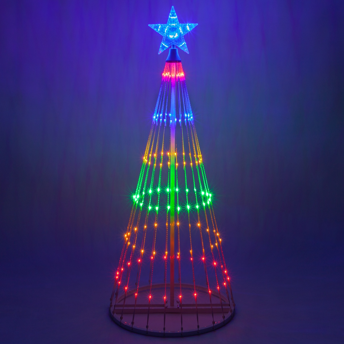 Wintergreen Lighting 4ft Multicolor Outdoor Christmas Light Show Cone Tree 14 Function Led Outdoor Christmas Decoration Walmart Com Walmart Com