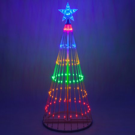 Wintergreen Lighting 4' Multicolor Outdoor Christmas Light Show Cone Tree, 14-Function LED Outdoor Christmas Decoration ()