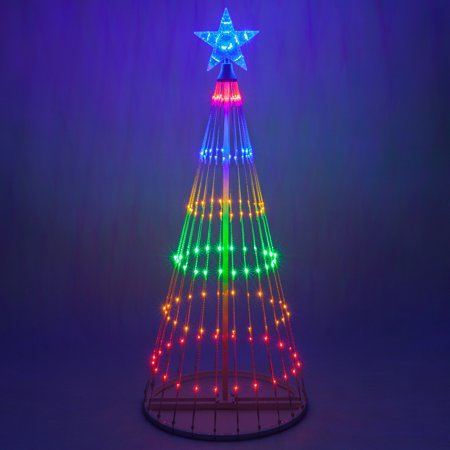 Wintergreen Lighting 4' Multicolor Outdoor Christmas Light Show Cone Tree, 14-Function LED Outdoor Christmas Decoration - Halloween Outdoor Tree Decorations