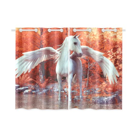 YUSDECOR Mythical Pegasus Window Curtains Kitchen Curtain Room Bedroom Drapes Curtains 26x39 inch, 2 Piece - image 3 de 3