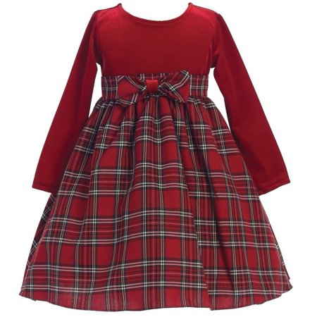 lito baby girls red stretch velvet plaid pattern bow occa