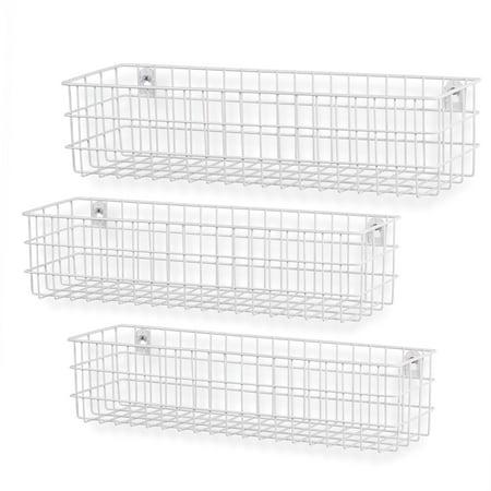 Wall35 Kansas Set of 3 Wall Mounted Kitchen Storage Metal Wire Fruit Basket Varying Sizes, White ()