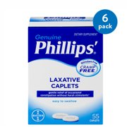 (6 Pack) Phillips' Laxative Dietary Supplement Caplets, 55 Count