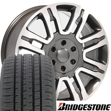 20x8.5 Wheels and Tires Fit Ford® Trucks - Expedition® Style Gunmetal Mach'd Rims w/Bridgestone Tires, Hollander 3788 -