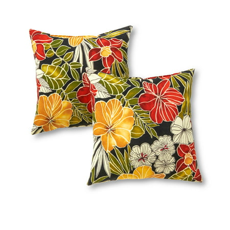 Aloha Floral 17 x 17 in. Outdoor Accent Pillow, Set of 2
