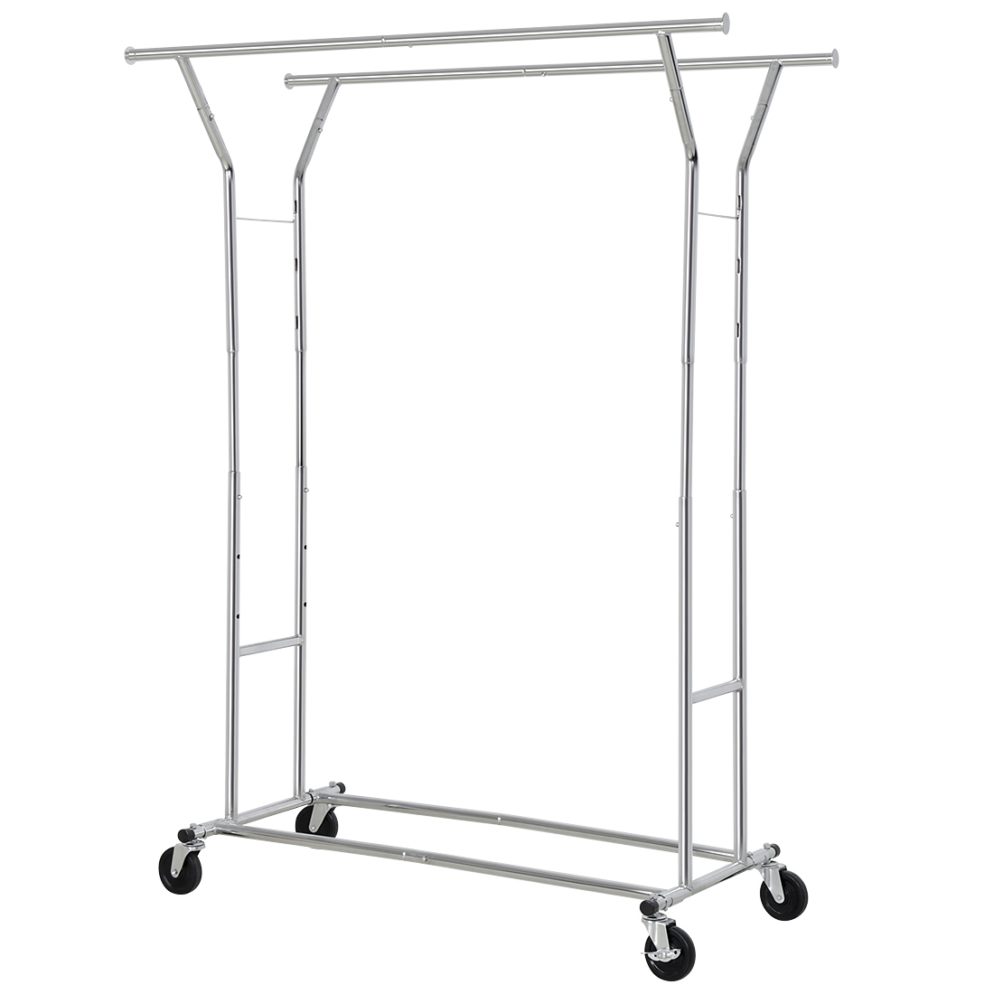 Double Rod Garment Rack with Adjustable Extendable Rail H...