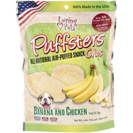 Puffsters Treat Chips, 4oz Banana & Chicken