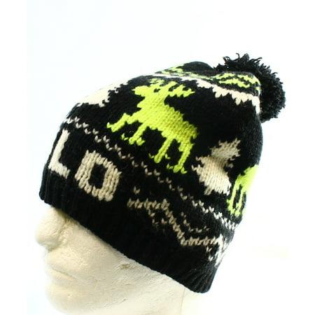 ba94af686da POLO RALPH LAUREN NEW Black Reindeer Winter Wool Pom Unisex One Beanie