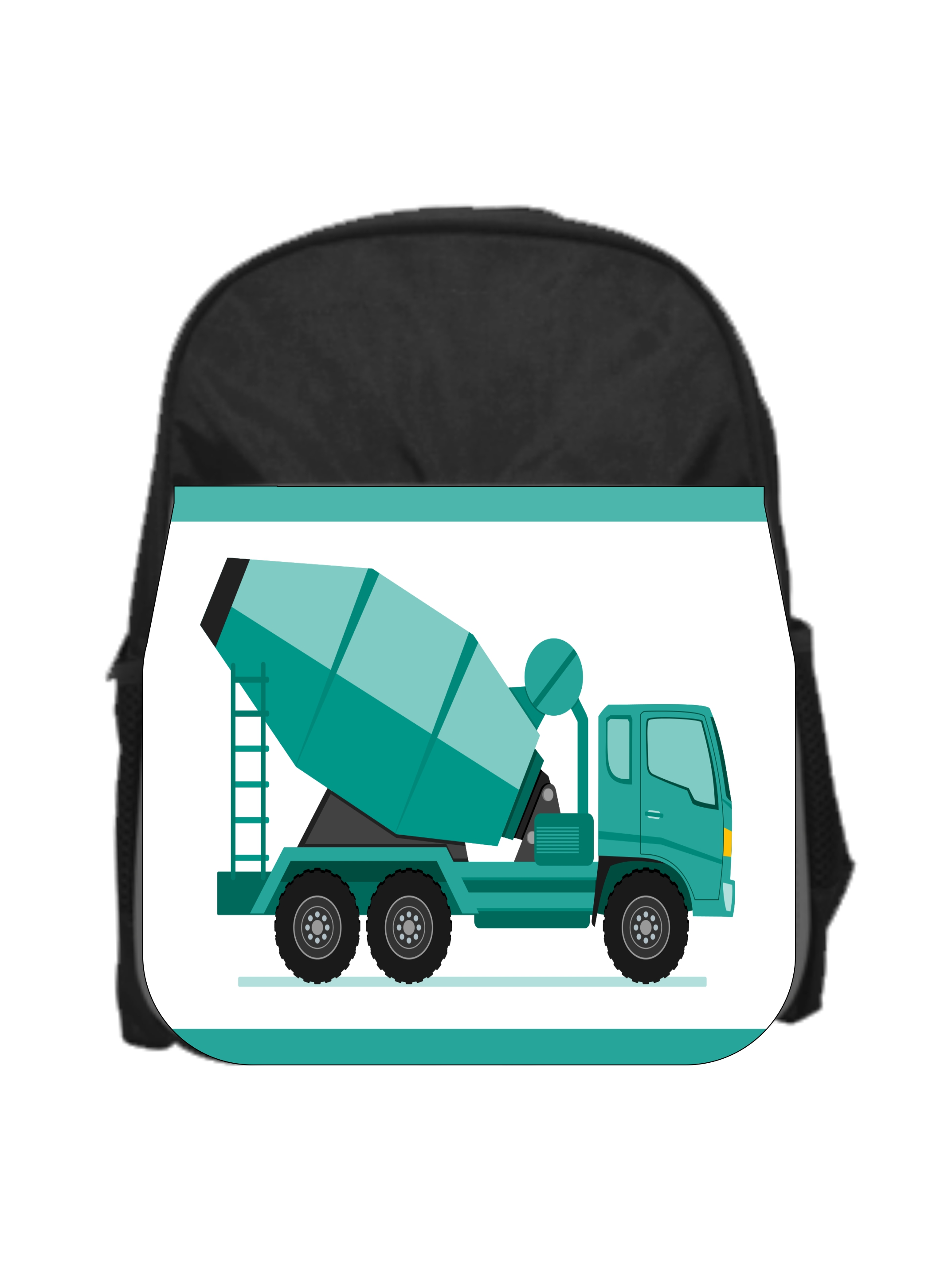 "Blue Cement Mixer Truck Boys 13"" x 10"" Black Preschool Toddler Children's Backpack by Accessory Avenue"