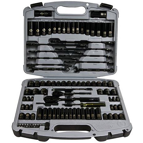 "Stanley 99-Piece Socket Set, Black Chrome, Laser-Etched, .25"", 3/8"" Drives, 92-839"