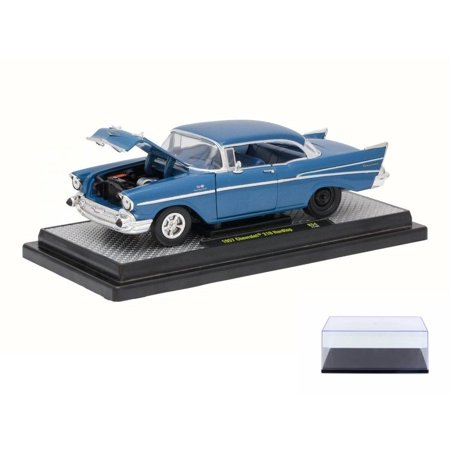 Diecast Car & Display Case Package - 1957 Chevrolet Bel Air 210 Series, Harbor Blue - Castline M2 40300/54A - 1/24 Scale Diecast Model Toy Car w/Display Case