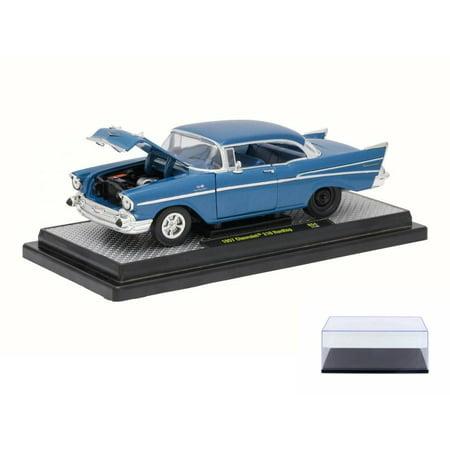 Diecast Car & Display Case Package - 1957 Chevrolet Bel Air 210 Series, Harbor Blue - Castline M2 40300/54A - 1/24 Scale Diecast Model Toy Car w/Display Case 12 Car Display Case
