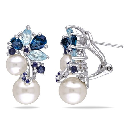 Sterling Silver Pearl, Blue Topaz and Sapphire Cluster Drop Earrings (6-8.5mm) - White Blue Sapphire Drop Earrings