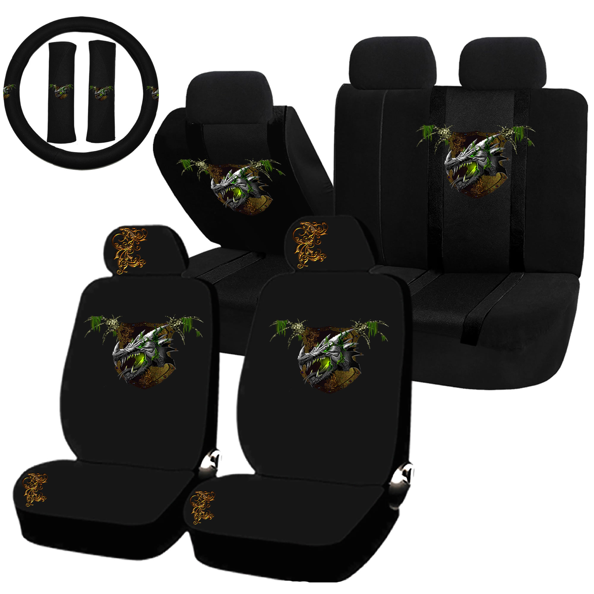 22PC Earth Dragon Green Nature Element Seat Covers & Steering Wheel Set Universal Car Truck SUV