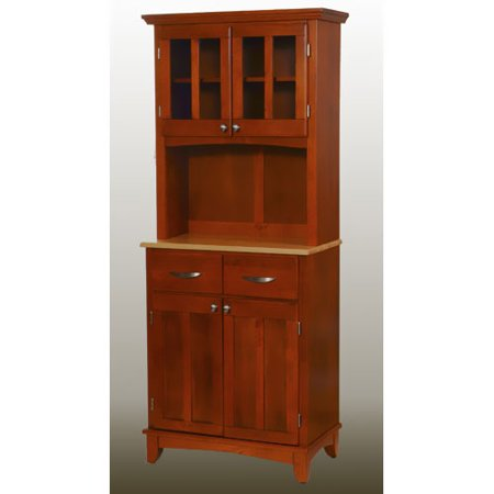 Home Styles Small Buffet with Two Glass Door Hutch, Cottage Oak with Natural Top Cabinet Oak Veneer Buffet China
