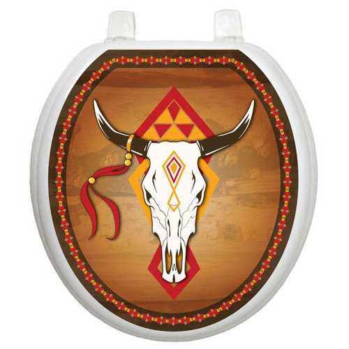 Toilet Tattoos Themes Southwest Cow Skull Toilet Seat Decal