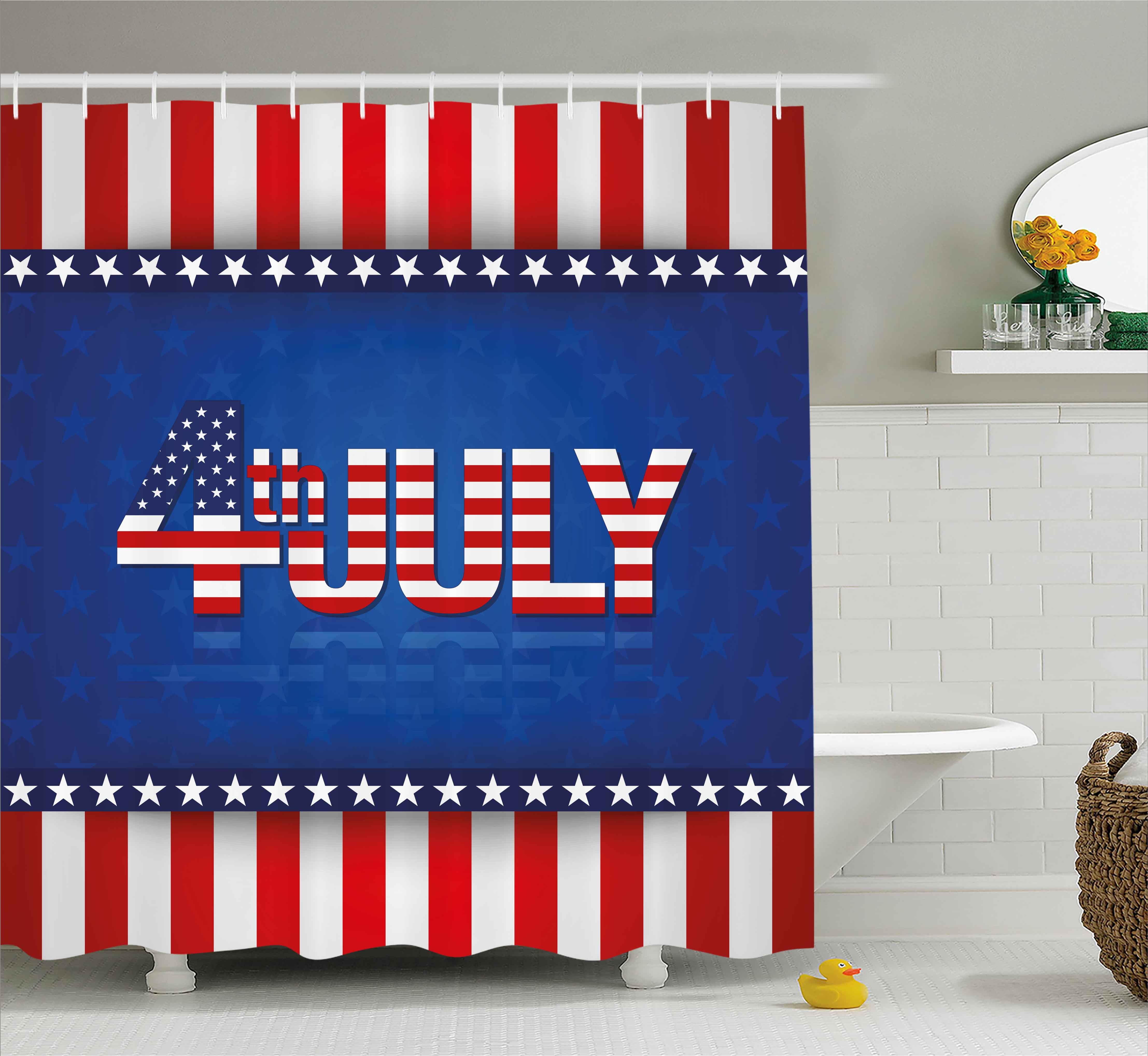4th of July Shower Curtain, Vintage Grunge Silhouette of ...