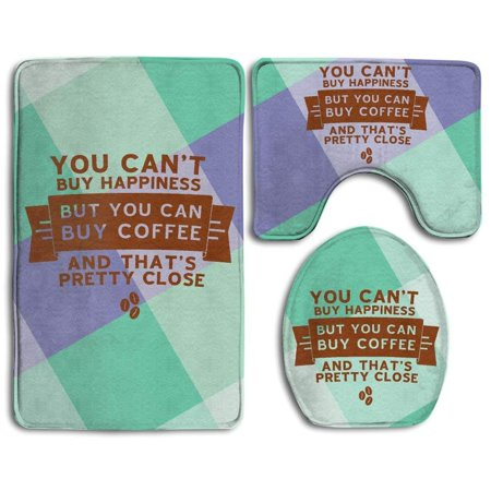 GOHAO You Can't Buy Happiness But You Can Buy Coffee 3 Piece Bathroom Rugs Set Bath Rug Contour Mat and Toilet Lid Cover ()
