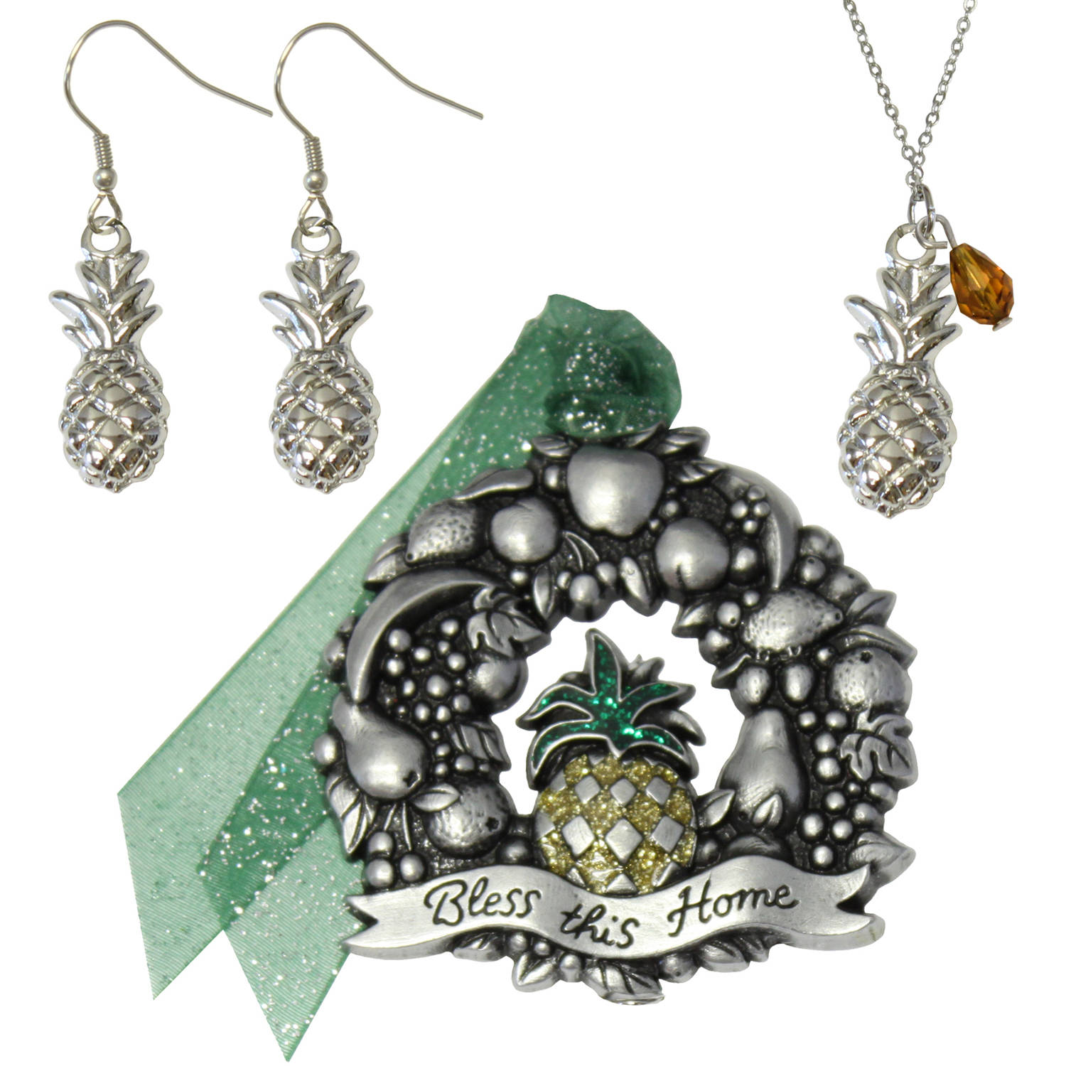 Gloria Duchin Pineapple Ornament, Necklace and Earrings Jewelry Set