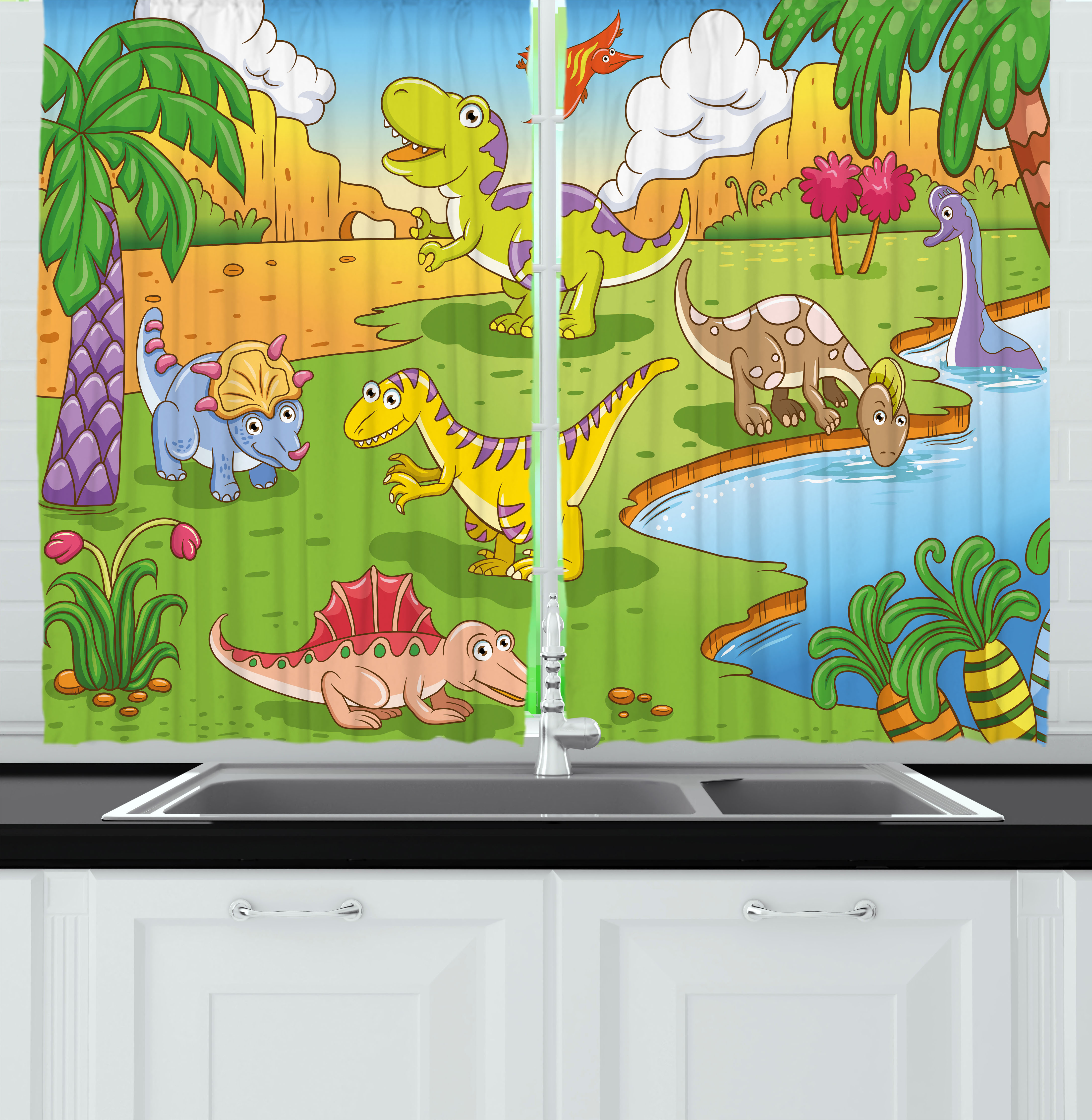 Kids Curtains 2 Panels Set, Cartoon Style Animals in Prehistoric Scene Meadow Trees and Flowers Print, Window Drapes for Living Room Bedroom, 55W X 39L Inches, Pale Coffee Lime Green, by Ambesonne