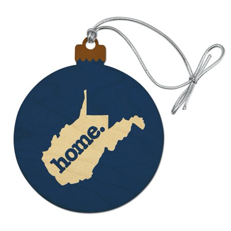West Virginia WV Home State Solid Navy Blue Officially Licensed Wood Christmas Tree Holiday Ornament ()