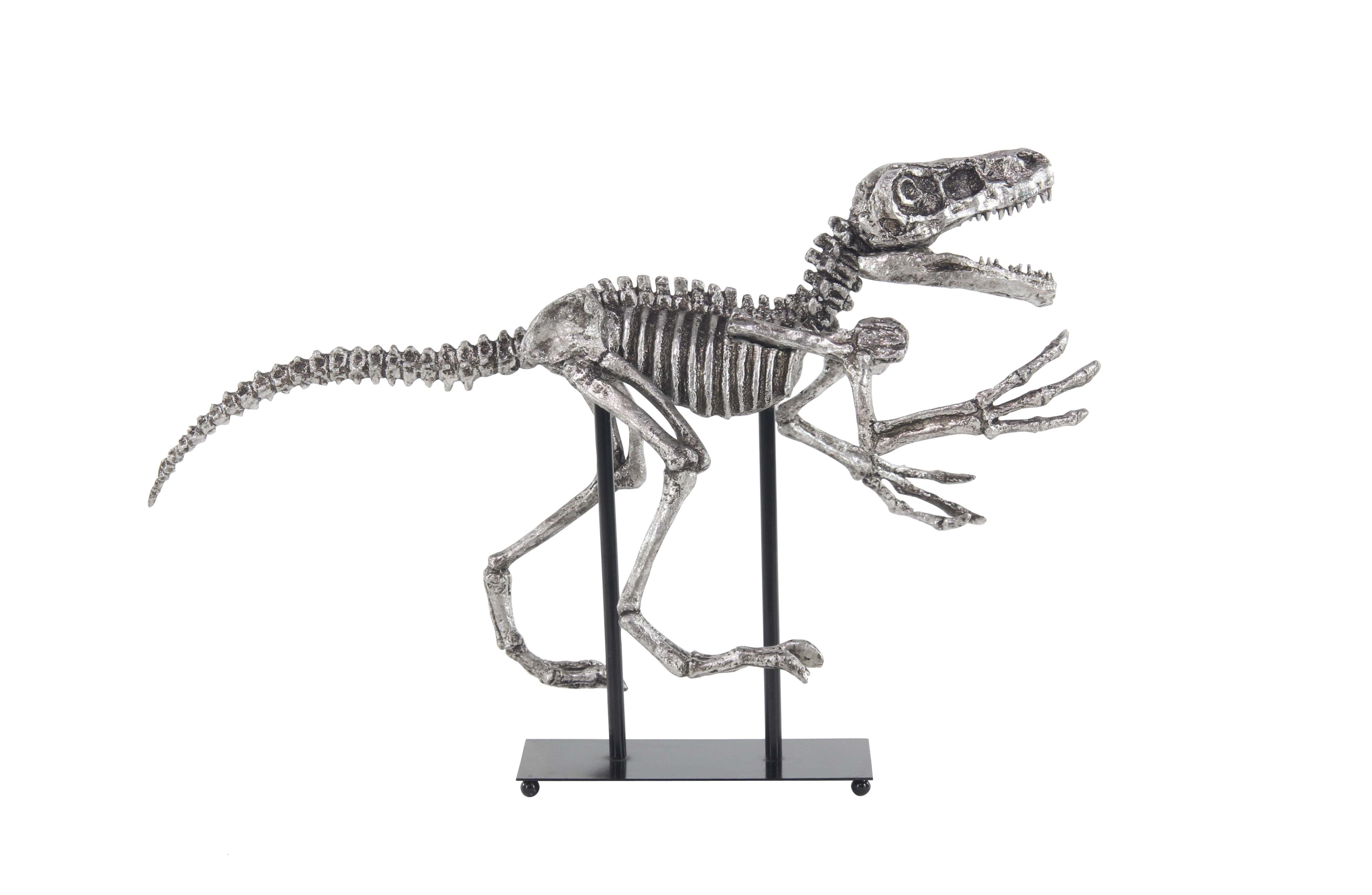 Decmode Contemporary Iron and Resin Dinosaur Skeleton Sculpture, Metallic Black by DecMode