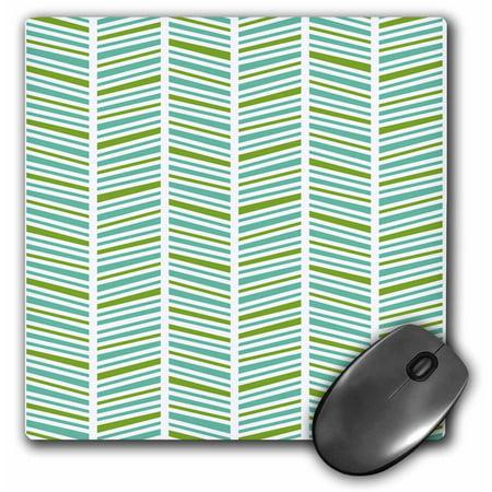 3dRose Herringbone Pattern Green and Blue, Mouse Pad, 8 by 8 - Spiral Herringbone