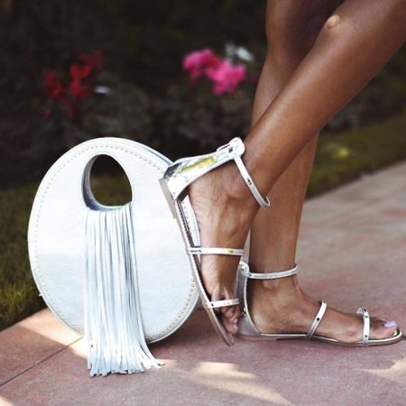 ASHLEY Strappy Sandals, Silver, 8.5