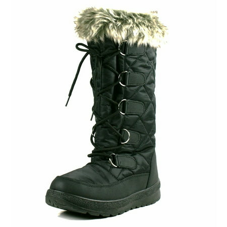 OwnShoe Poala Womens Lace Up Mid Calf Winter Snow Flat - Furry Winter Boots